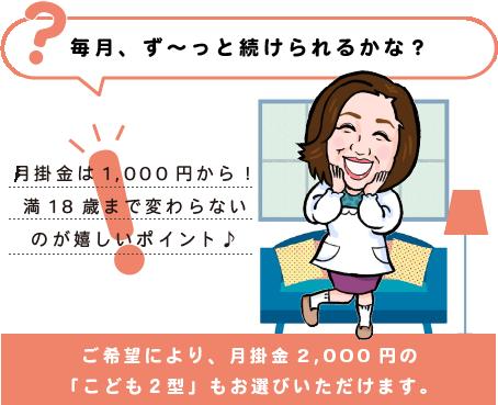 月々1,000円からだから、ず~っと続けられる。